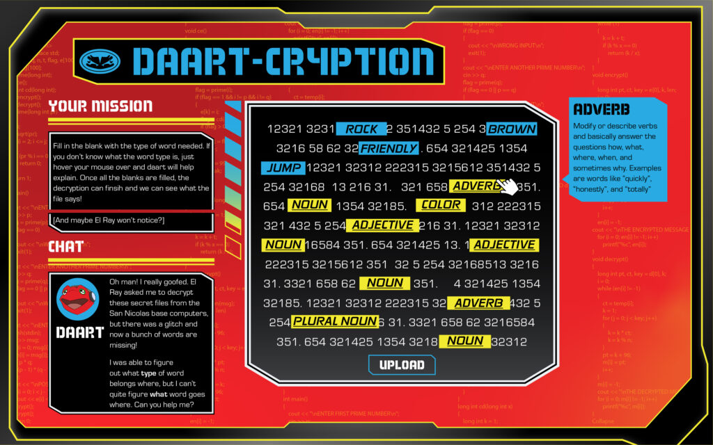 Free Mad Libs style game for kids featuring Daart from Alter Nation
