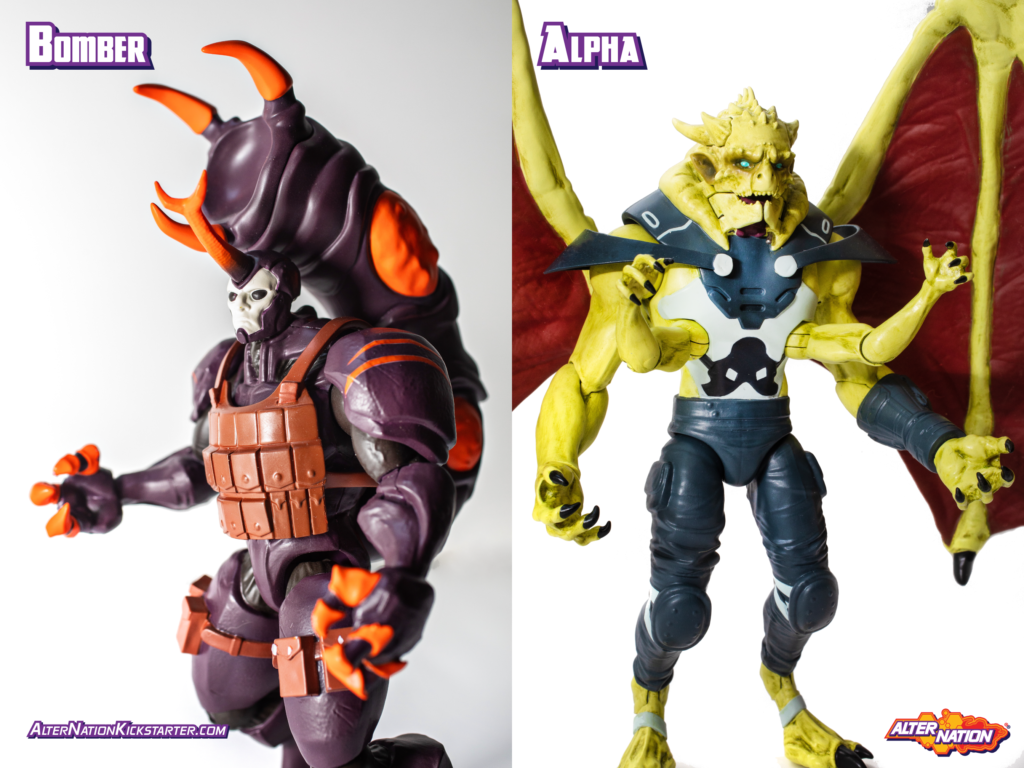 Bomber and Alpha, scheduled for release Fall 2020 as an expansion to the Alter Nation brand of action figures, will now be released as part of a Kickstarter campaign.